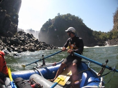 Bob in the spray of the Victoria Falls about to start the raft trip