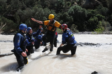 Helping Phil across the river on rescue day