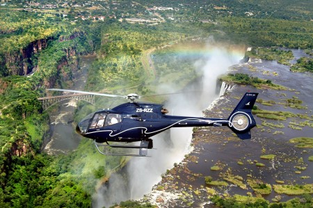 You'll fly back up-river by helicopter and land at Taita Falcon Lodge after your trip.