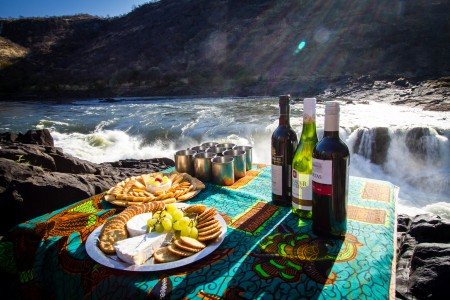 Wine and cheese at Moemba Falls