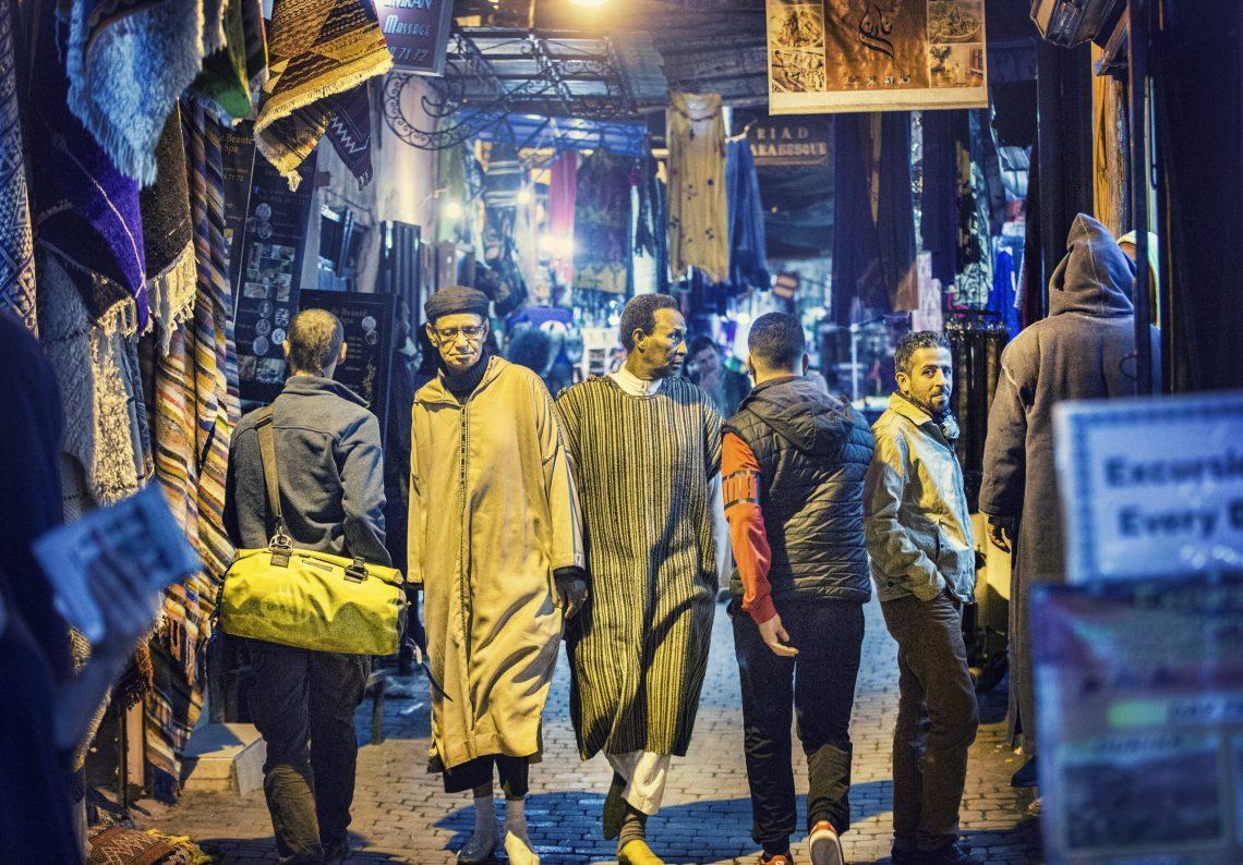 Images of men in souk in Marrakech