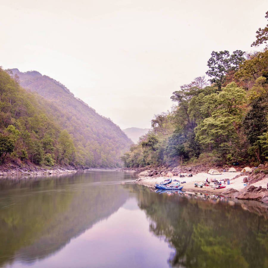 Image of campsite on the Karnali River in Nepal