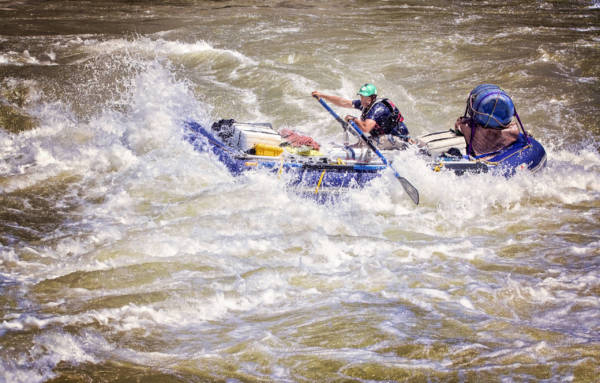 Image of gear raft in Gods House on the Karnali River