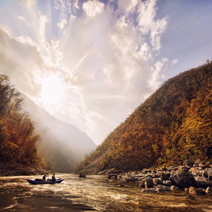Image of sunset with raft on Karnali River in Nepal