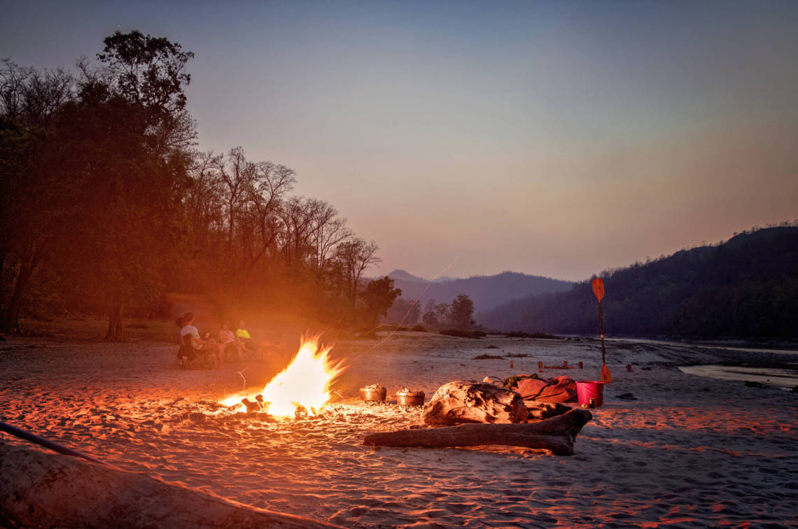 Image of campfire on Karnali River in Nepal