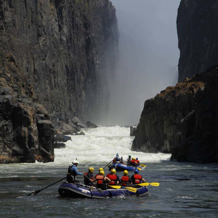 Image of raft under Victoria Falls